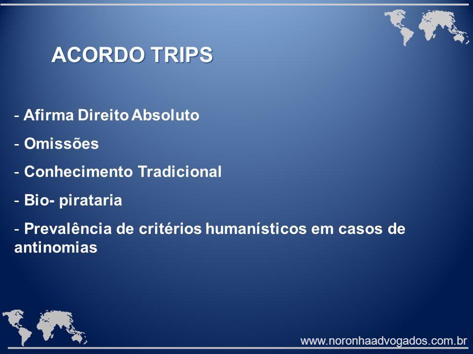 ACORDO TRIPS Afirma Direito Absoluto Omissões Conhecimento Tradicional