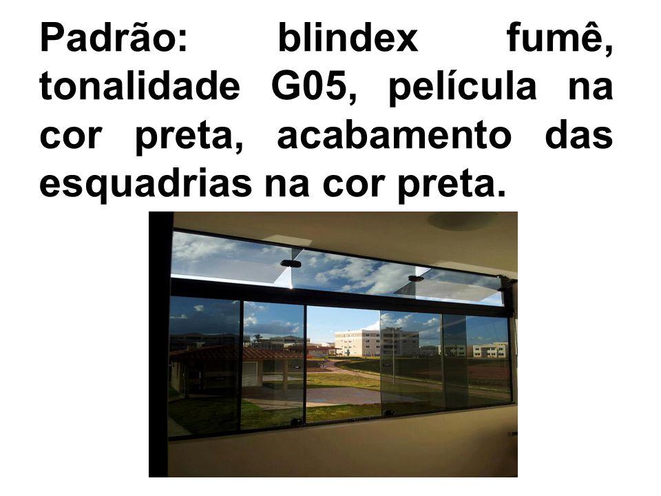 Padrão: blindex fumê, tonalidade G05, película na cor preta, acabamento das esquadrias na cor preta.