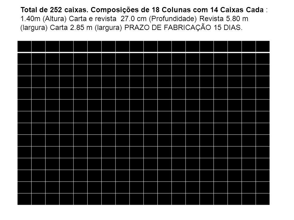 Total de 252 caixas. Composições de 18 Colunas com 14 Caixas Cada : 1