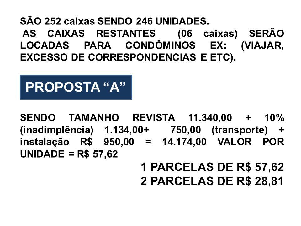 PROPOSTA A 1 PARCELAS DE R$ 57,62 2 PARCELAS DE R$ 28,81