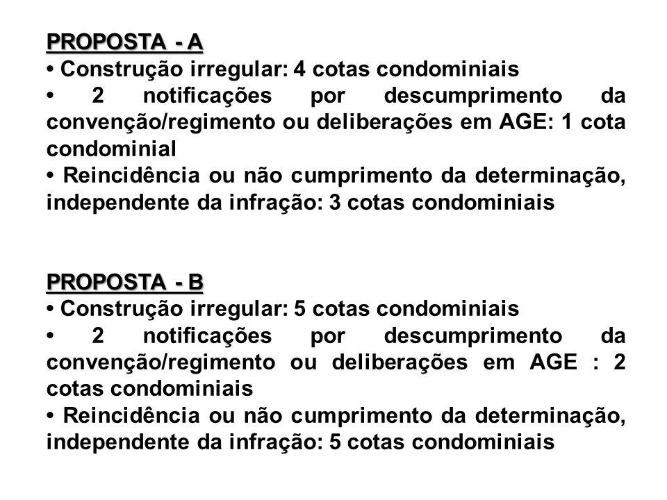 PROPOSTA - A • Construção irregular: 4 cotas condominiais.