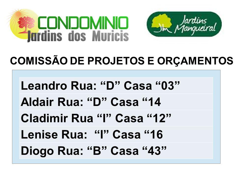 Leandro Rua: D Casa 03 Aldair Rua: D Casa 14