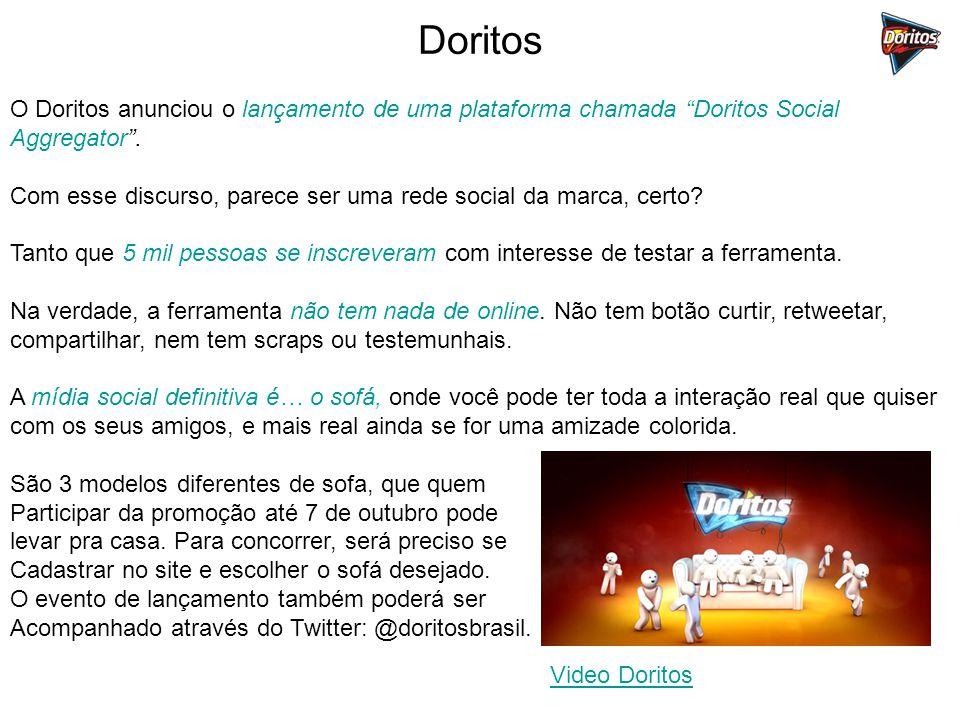 Doritos O Doritos anunciou o lançamento de uma plataforma chamada Doritos Social Aggregator .