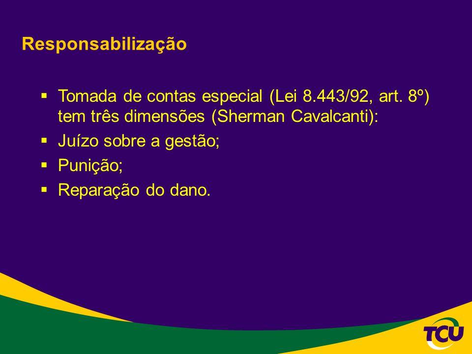 Responsabilização Tomada de contas especial (Lei 8.443/92, art. 8º) tem três dimensões (Sherman Cavalcanti):