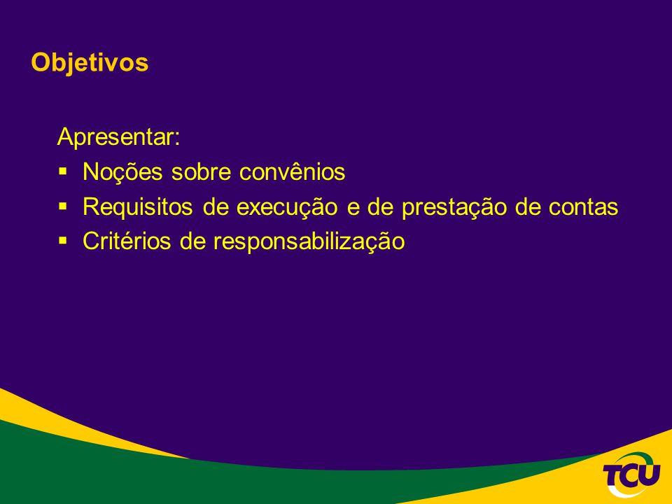 Objetivos Apresentar: Noções sobre convênios