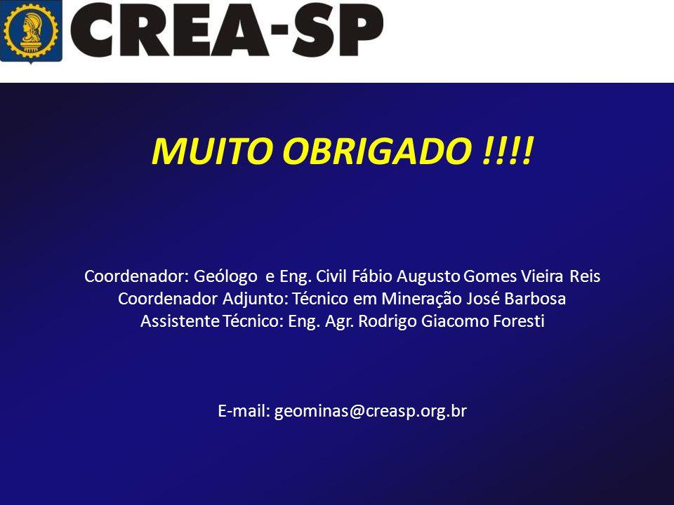 MUITO OBRIGADO !!!! Coordenador: Geólogo e Eng. Civil Fábio Augusto Gomes Vieira Reis. Coordenador Adjunto: Técnico em Mineração José Barbosa.