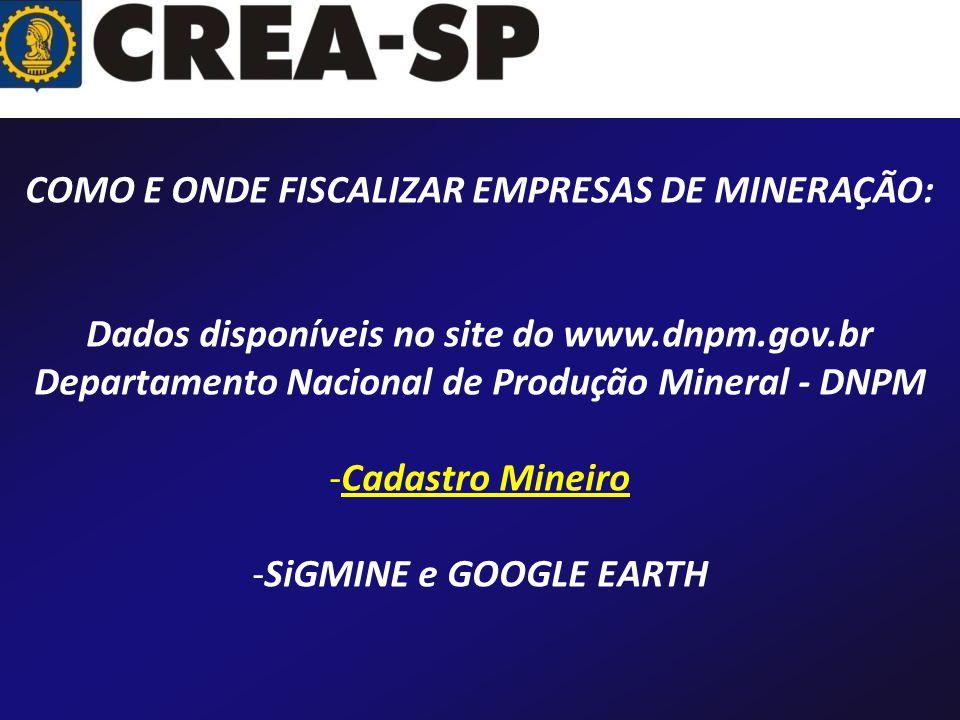 COMO E ONDE FISCALIZAR EMPRESAS DE MINERAÇÃO: