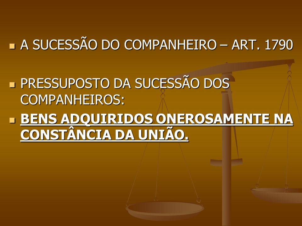 A SUCESSÃO DO COMPANHEIRO – ART. 1790