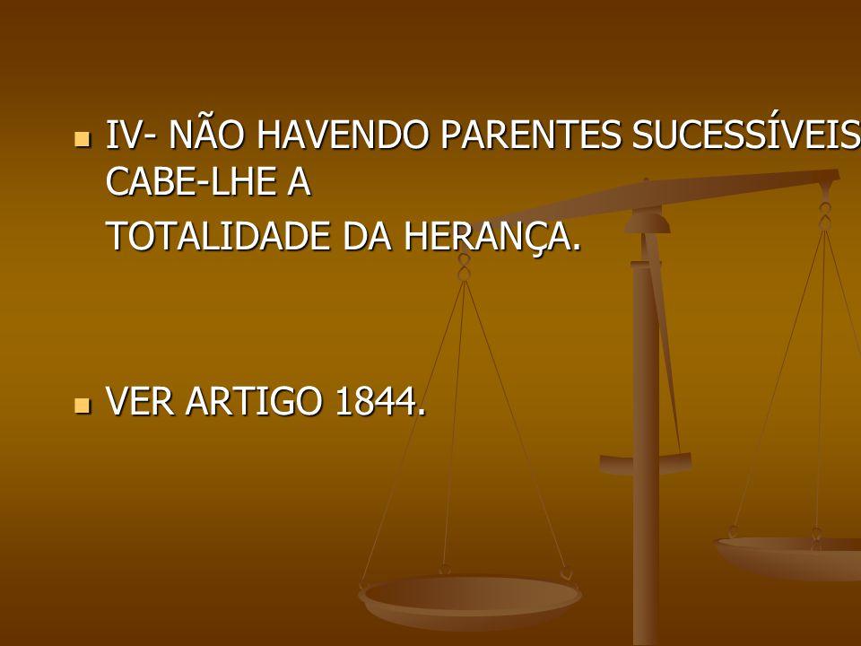 IV- NÃO HAVENDO PARENTES SUCESSÍVEIS, CABE-LHE A