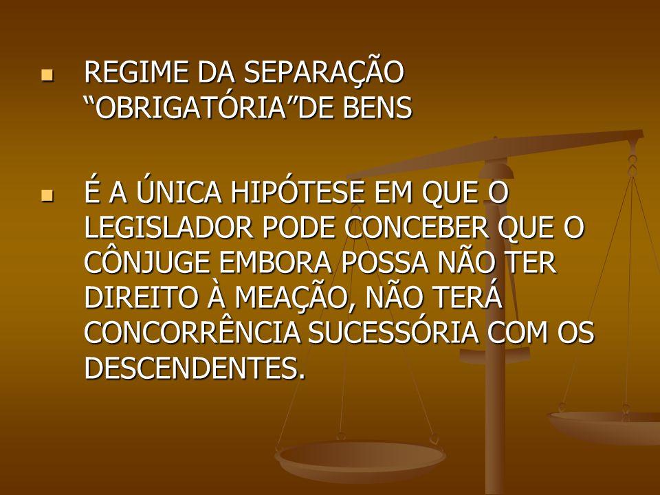 REGIME DA SEPARAÇÃO OBRIGATÓRIA DE BENS