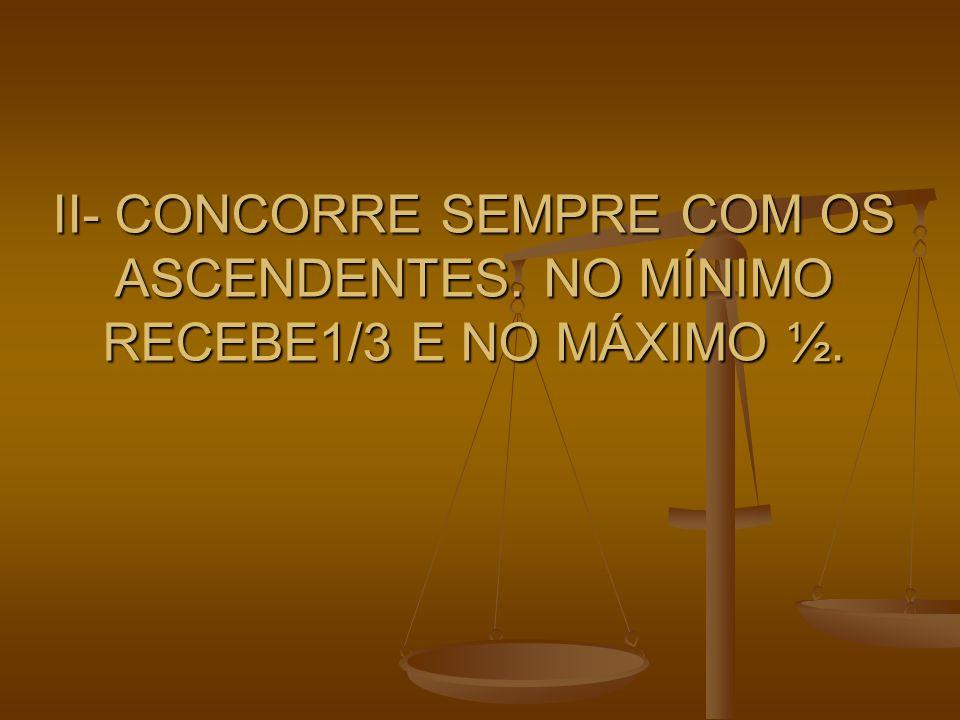 II- CONCORRE SEMPRE COM OS ASCENDENTES