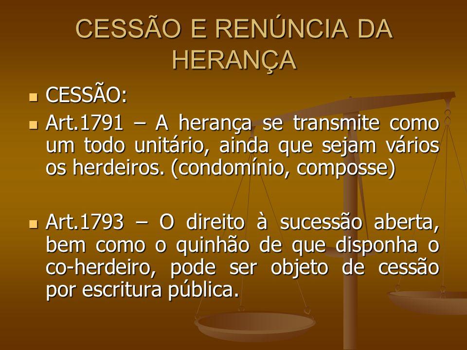 CESSÃO E RENÚNCIA DA HERANÇA