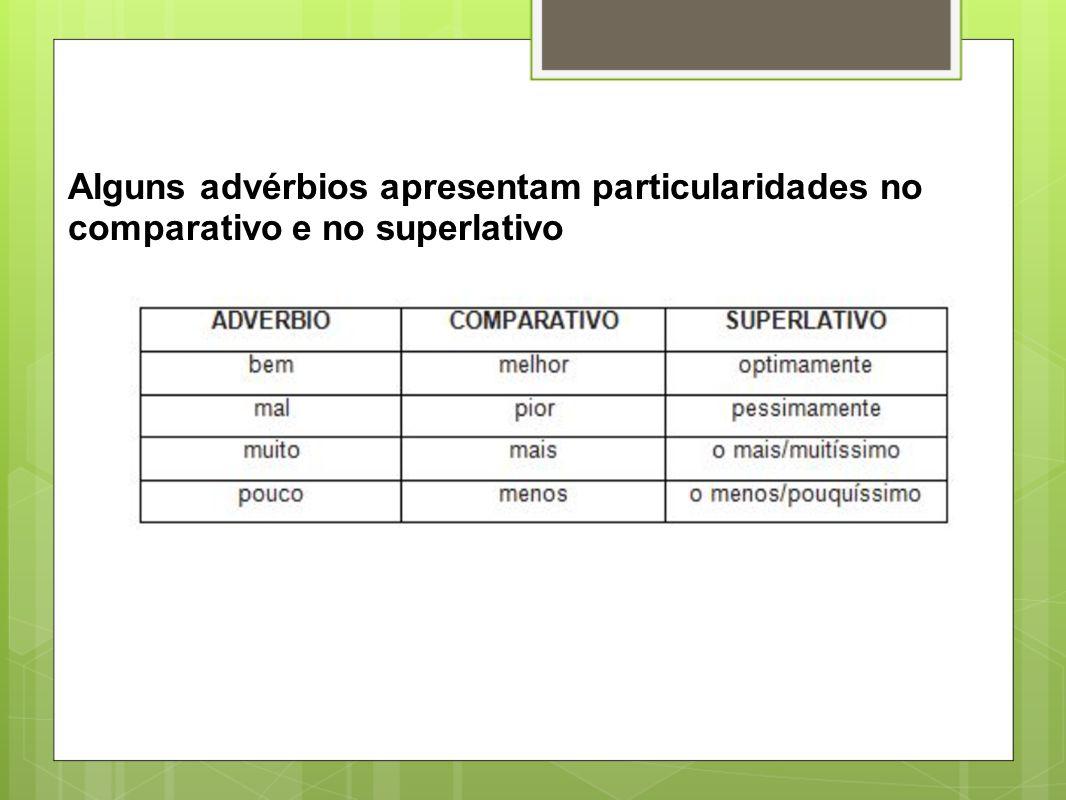 Alguns advérbios apresentam particularidades no comparativo e no superlativo