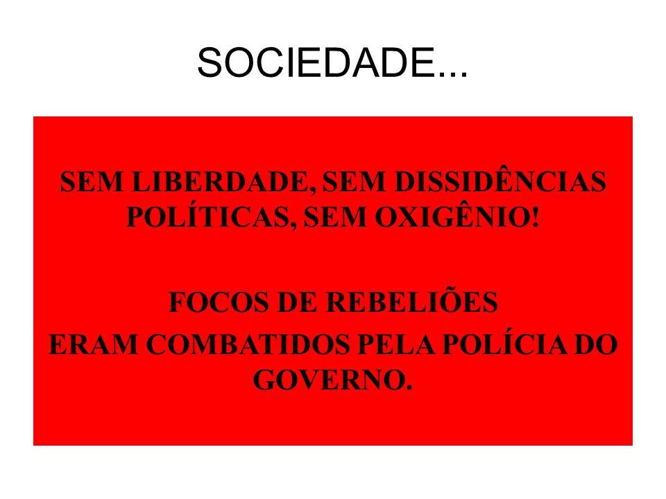 SOCIEDADE... SEM LIBERDADE, SEM DISSIDÊNCIAS POLÍTICAS, SEM OXIGÊNIO.