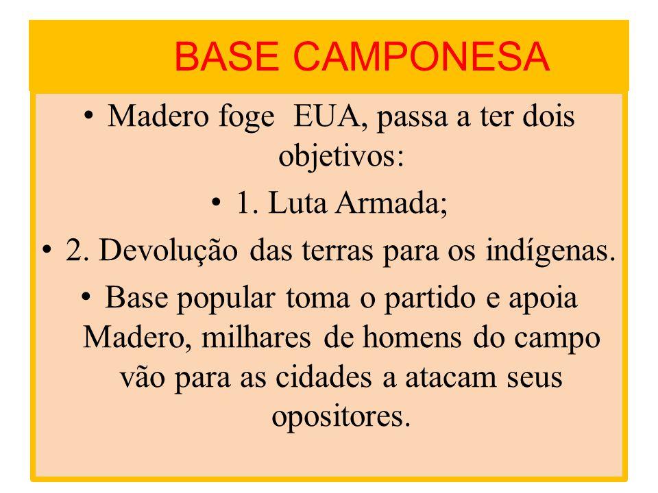 BASE CAMPONESA Madero foge EUA, passa a ter dois objetivos: