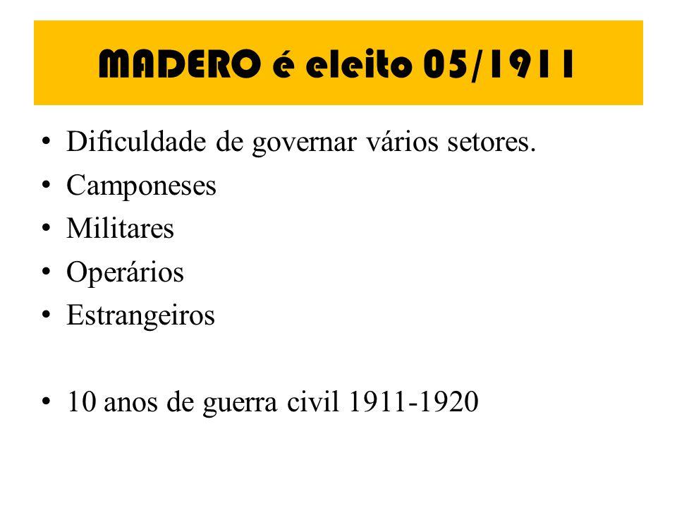 MADERO é eleito 05/1911 Dificuldade de governar vários setores.