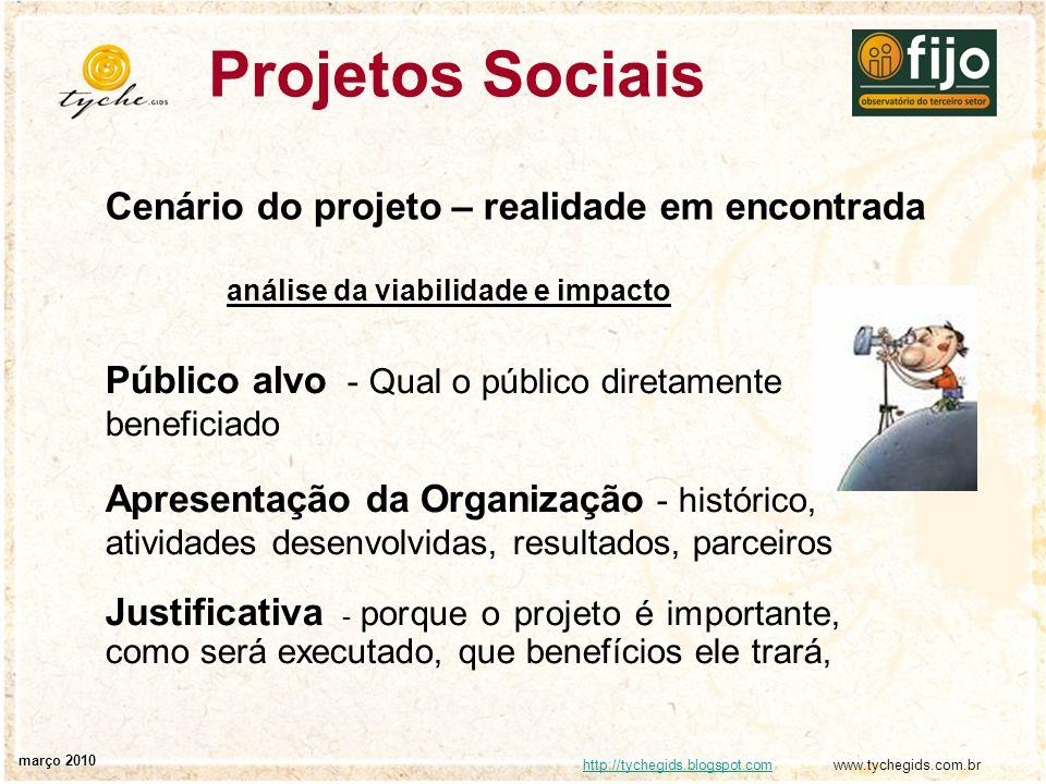 Projetos Sociais Cenário do projeto – realidade em encontrada