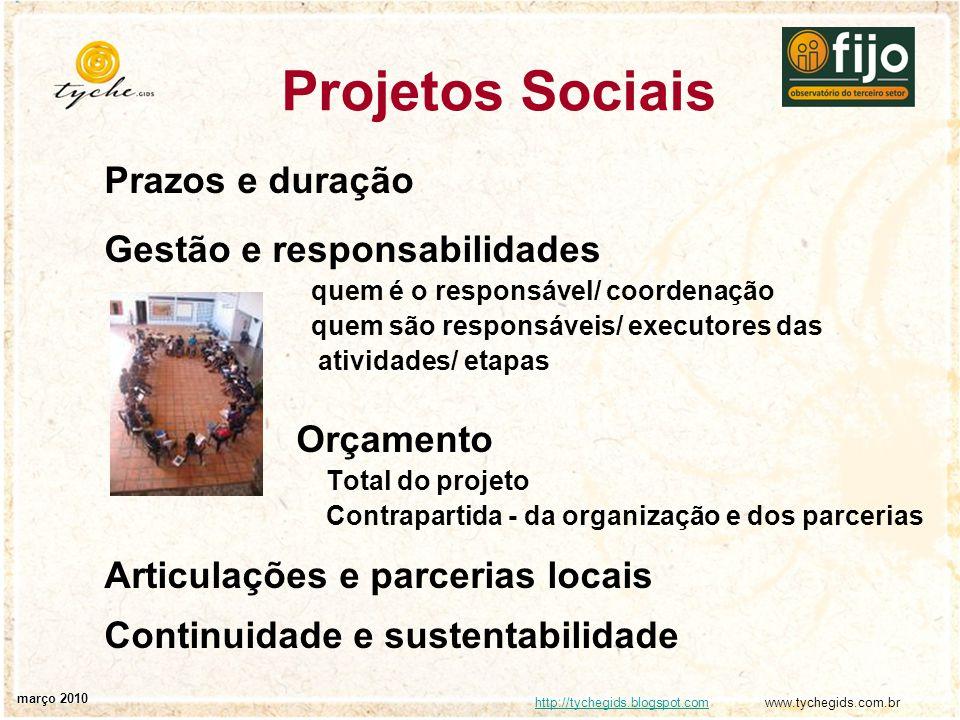 Projetos Sociais Prazos e duração Gestão e responsabilidades Orçamento