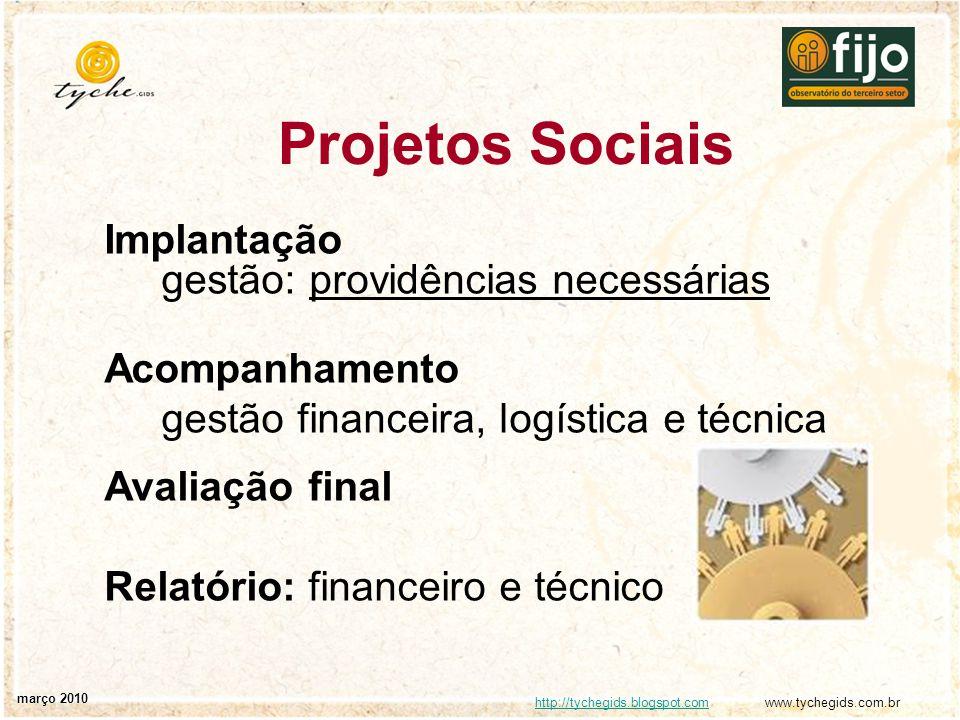 Projetos Sociais Implantação gestão: providências necessárias