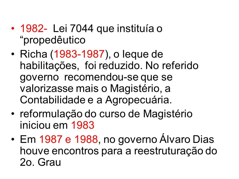 1982- Lei 7044 que instituía o propedêutico