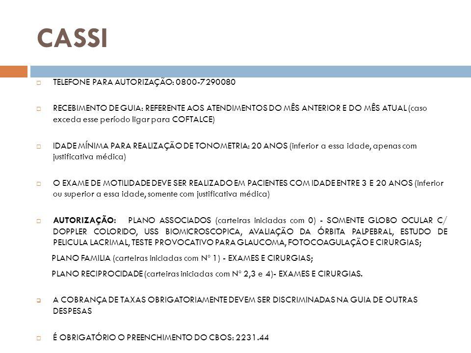 CASSI TELEFONE PARA AUTORIZAÇÃO: 0800-7290080