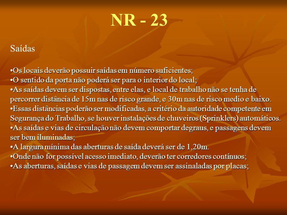 NR - 23 Saídas Os locais deverão possuir saídas em número suficientes;