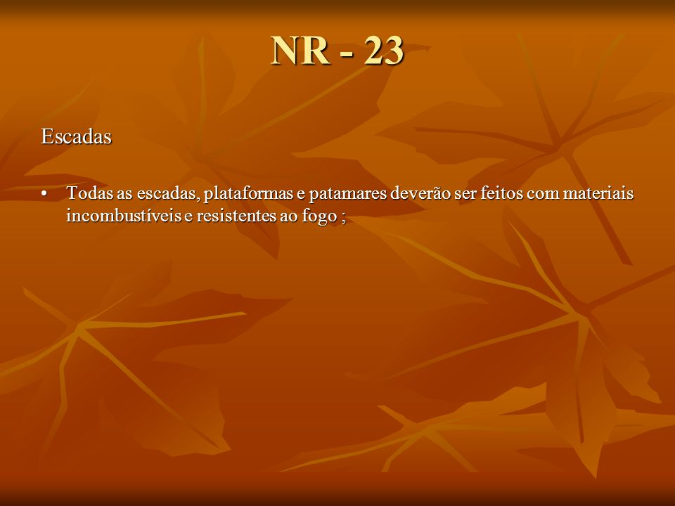NR - 23 Escadas.