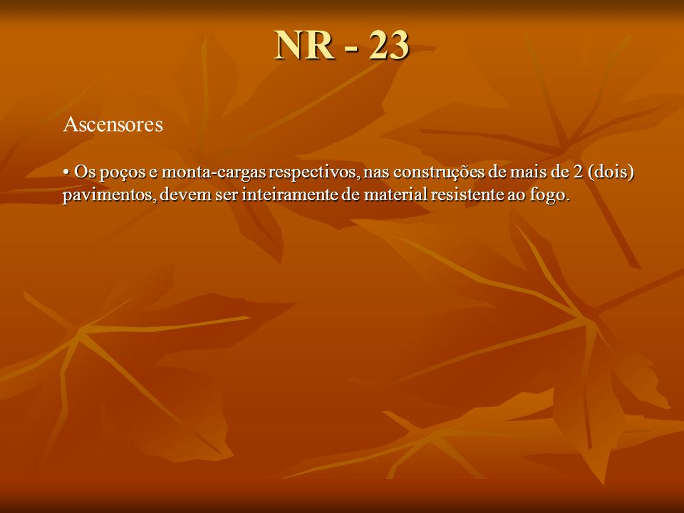 NR - 23 Ascensores.