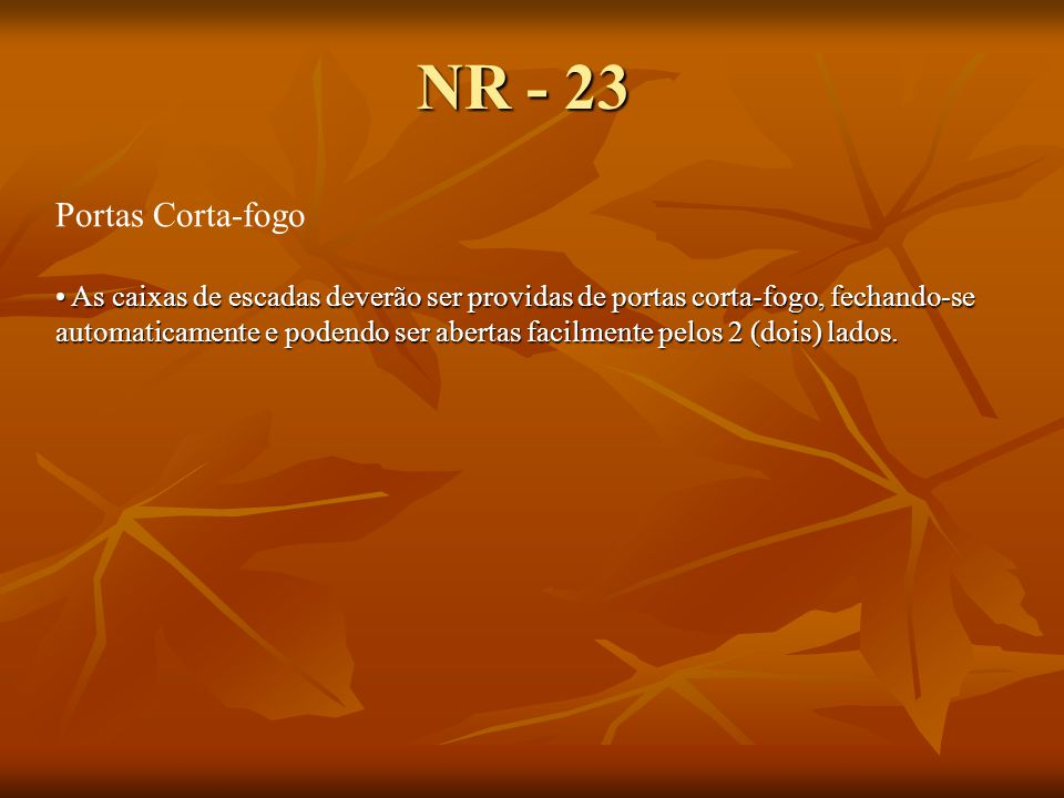 NR - 23 Portas Corta-fogo.