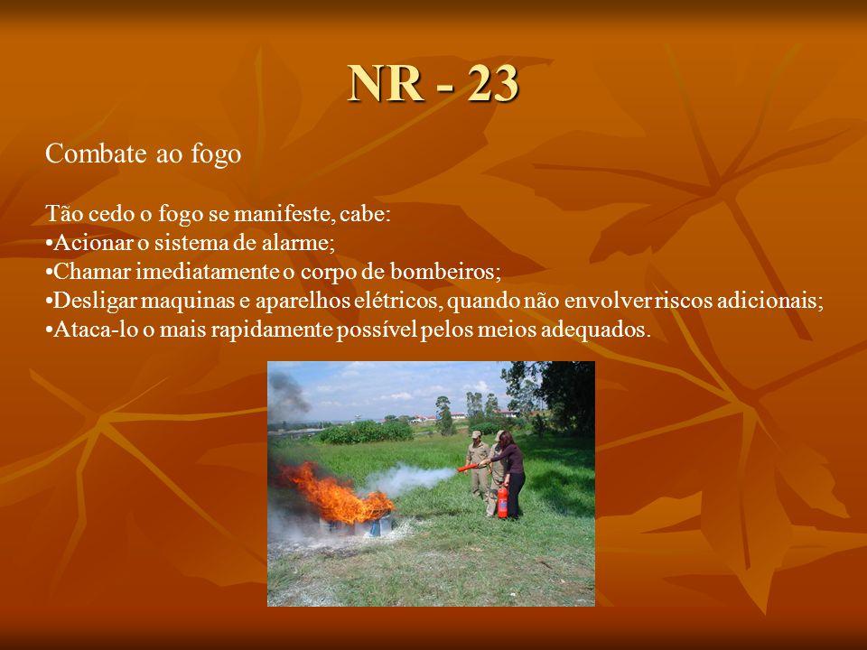 NR - 23 Combate ao fogo Tão cedo o fogo se manifeste, cabe: