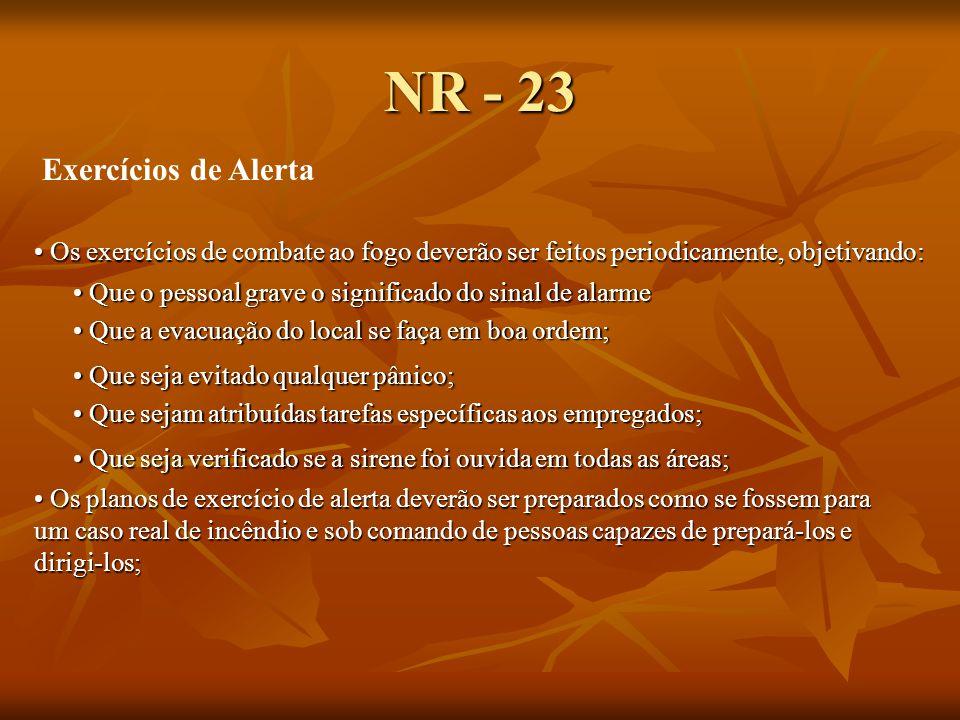 NR - 23 Exercícios de Alerta