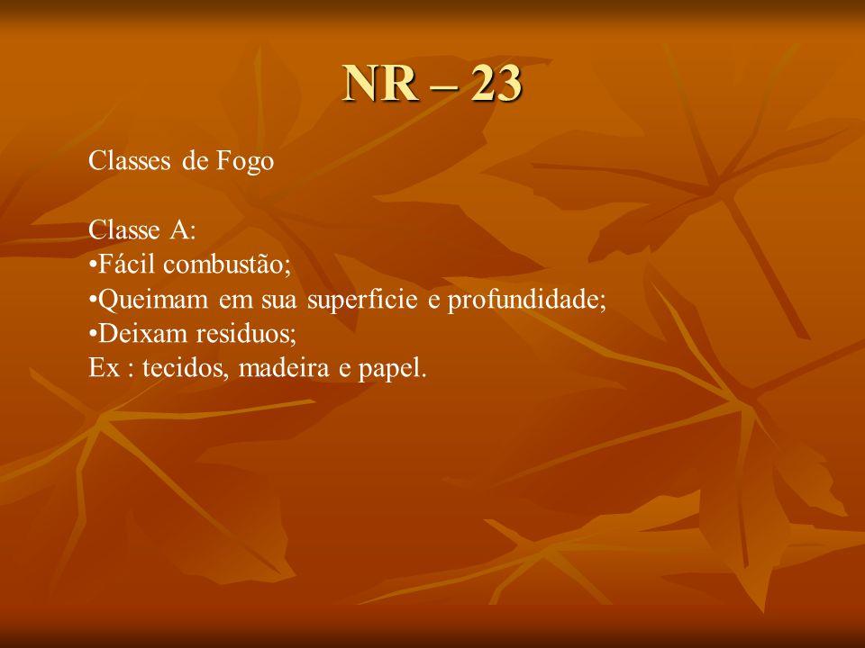 NR – 23 Classes de Fogo Classe A: Fácil combustão;