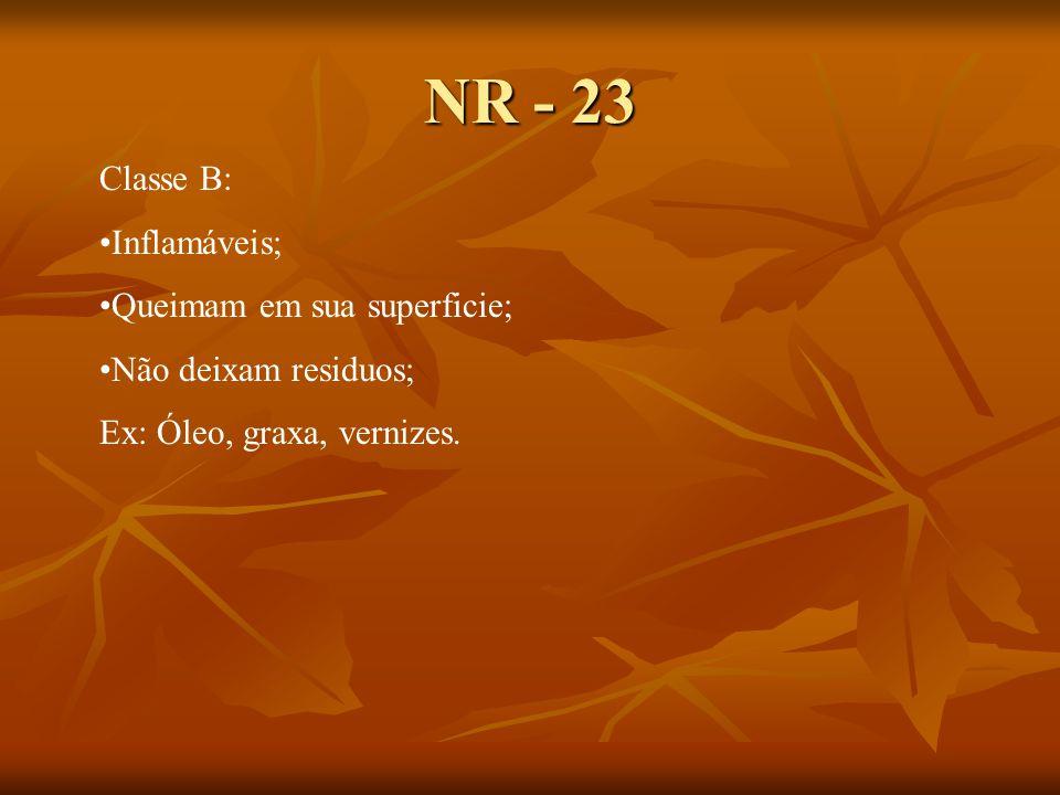 NR - 23 Classe B: Inflamáveis; Queimam em sua superficie;