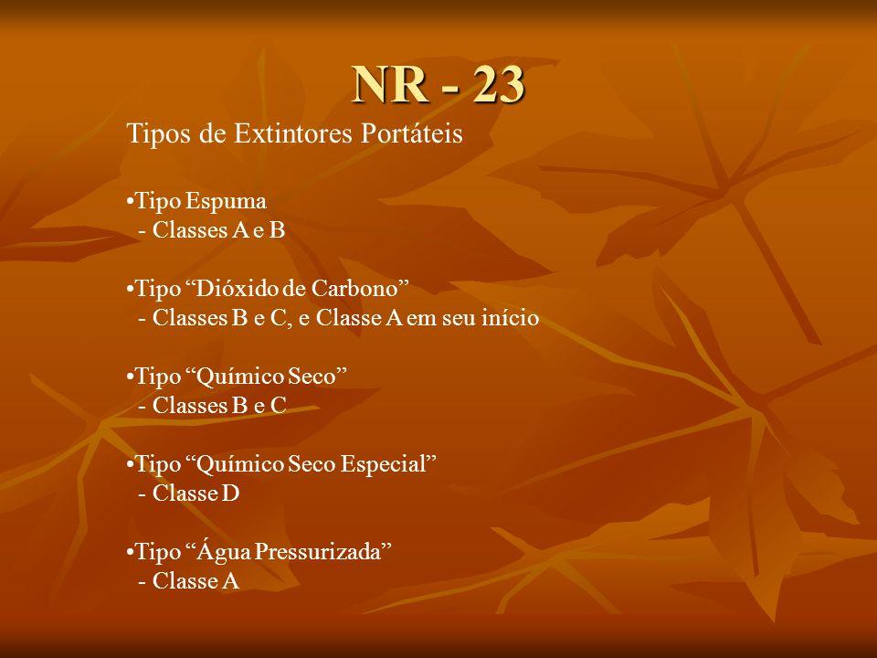 NR - 23 Tipos de Extintores Portáteis Tipo Espuma - Classes A e B