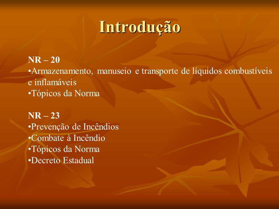 Introdução NR – 20. Armazenamento, manuseio e transporte de líquidos combustíveis. e inflamáveis.