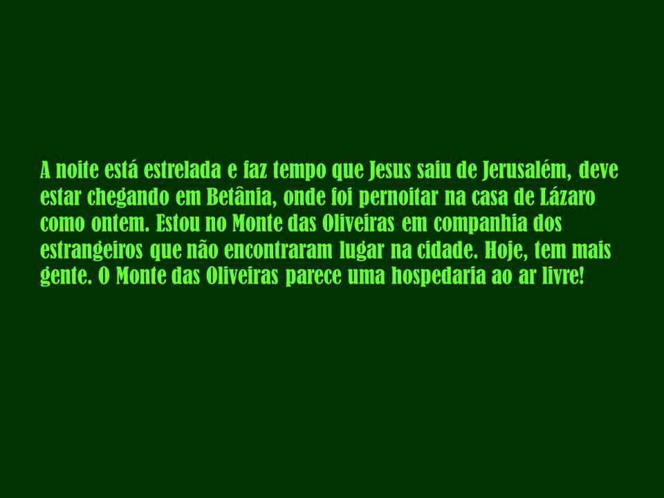 A noite está estrelada e faz tempo que Jesus saiu de Jerusalém, deve estar chegando em Betânia, onde foi pernoitar na casa de Lázaro como ontem.