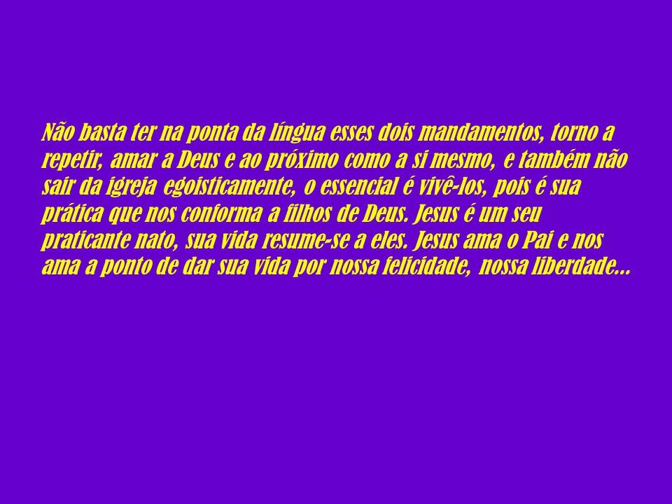 Não basta ter na ponta da língua esses dois mandamentos, torno a repetir, amar a Deus e ao próximo como a si mesmo, e também não sair da igreja egoisticamente, o essencial é vivê-los, pois é sua prática que nos conforma a filhos de Deus.