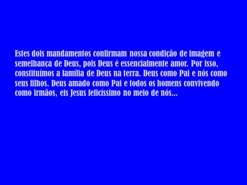 Estes dois mandamentos confirmam nossa condição de imagem e semelhança de Deus, pois Deus é essencialmente amor.