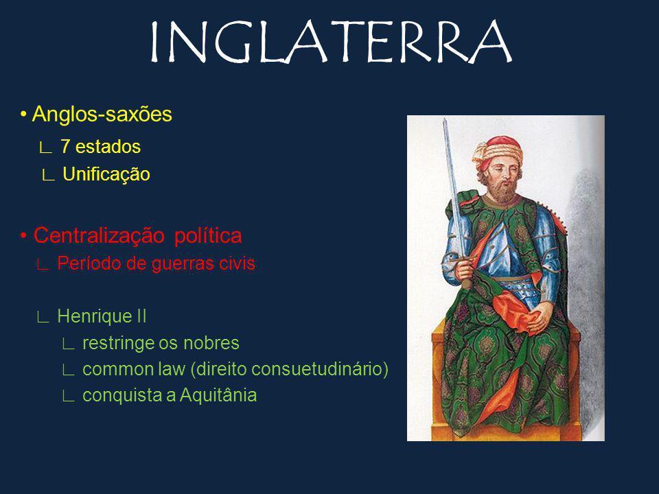 INGLATERRA • Anglos-saxões ∟ 7 estados • Centralização política