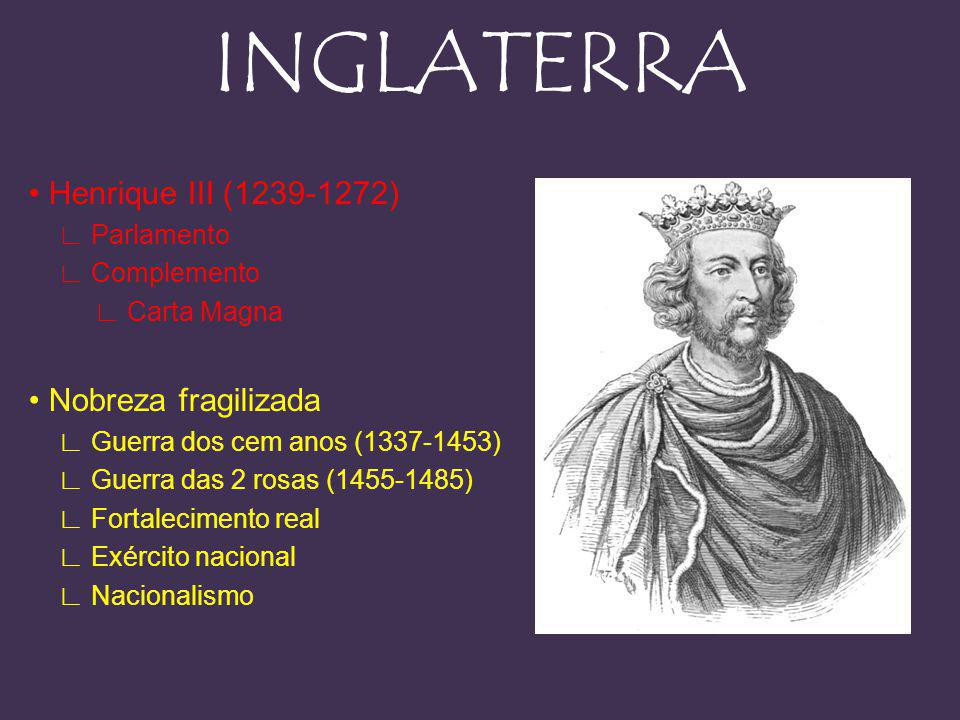 INGLATERRA • Henrique III (1239-1272) • Nobreza fragilizada