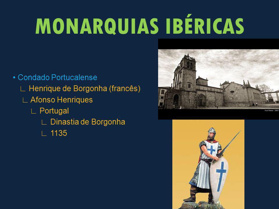 MONARQUIAS IBÉRICAS • Condado Portucalense ∟ Henrique de Borgonha (francês) ∟ Afonso Henriques ∟ Portugal ∟ Dinastia de Borgonha ∟ 1135