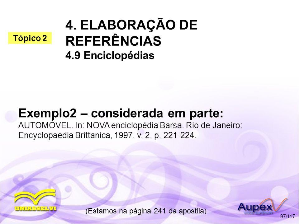 4. ELABORAÇÃO DE REFERÊNCIAS 4.9 Enciclopédias