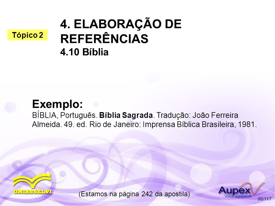 4. ELABORAÇÃO DE REFERÊNCIAS 4.10 Bíblia