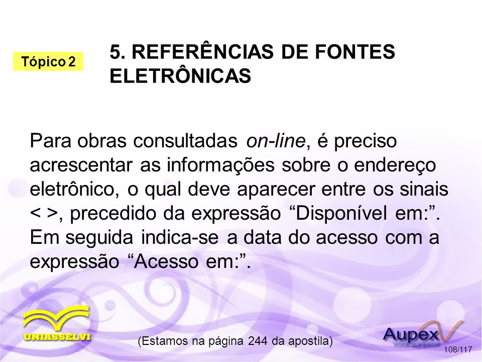 5. REFERÊNCIAS DE FONTES ELETRÔNICAS