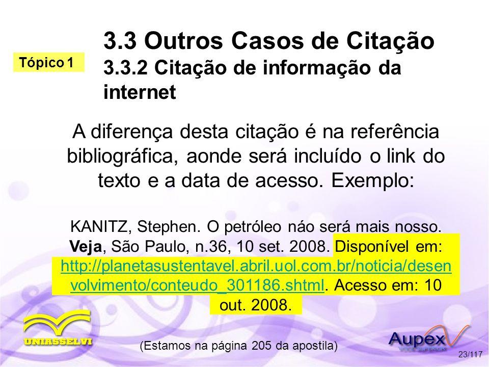 3.3 Outros Casos de Citação 3.3.2 Citação de informação da internet