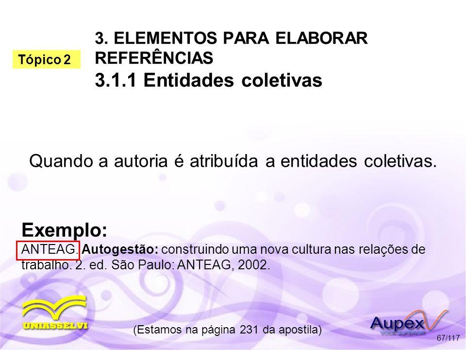 3. ELEMENTOS PARA ELABORAR REFERÊNCIAS 3.1.1 Entidades coletivas