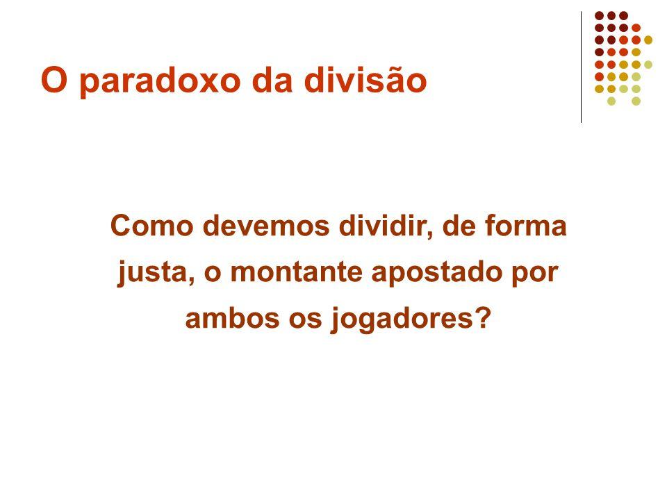 O paradoxo da divisão Como devemos dividir, de forma justa, o montante apostado por ambos os jogadores