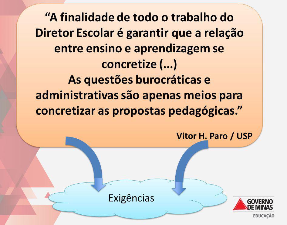 A finalidade de todo o trabalho do Diretor Escolar é garantir que a relação entre ensino e aprendizagem se concretize (...)