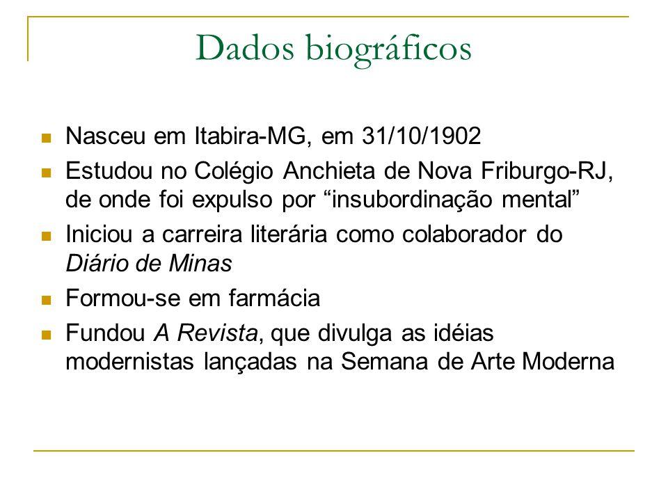 Dados biográficos Nasceu em Itabira-MG, em 31/10/1902