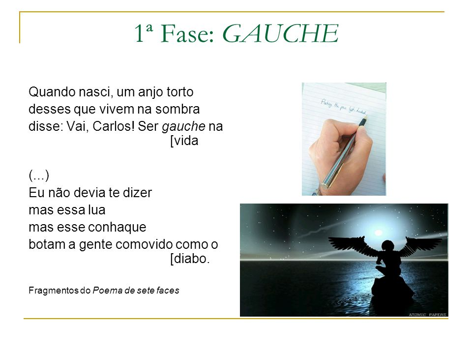 1ª Fase: GAUCHE Quando nasci, um anjo torto desses que vivem na sombra